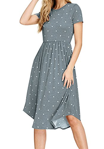Swing Dresses with Pockets for Women Summer Knee Length Dots Spots Printed Dress Light Blue XL