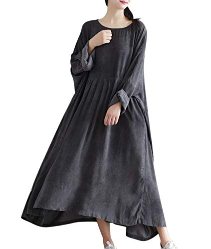 - Yesno TA7 Women Maxi Dress Caftan Large Loose Gathered Skirt Oil Dyed Casual Oversize,Gray,One Size