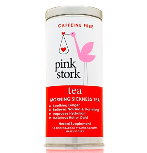 Pink Stork Tea: Morning Sickness Relief Pregnancy Tea -Organic Ginger Peach -Relief from Morning Sickness, Nausea, Cramps, Constipation, and More -Delicious Hot Or Cold - Caffeine Free