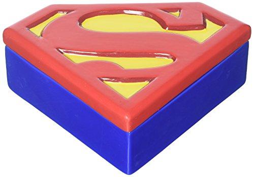 Superman Logo Ceramic Large Trinket Box by Vandor