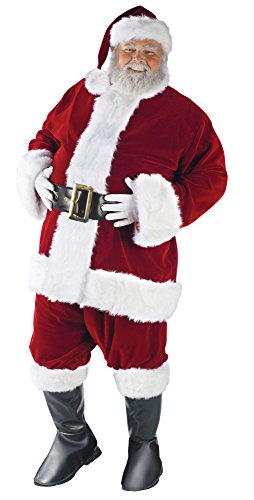 Fun World Costumes Men's Plus-Size Plus Size Adult Ultra Velvet Santa Suit, Red/White, - Suit Santa Velvet Red