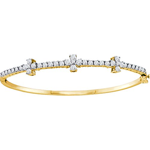 - Brilliant Bijou 14kt Yellow Gold Womens Round Diamond Pave-set Bangle Bracelet 1-1/2 Cttw