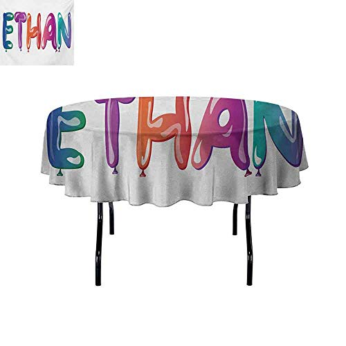 GloriaJohnson Ethan+Washable+Round+Tablecloth+Colorful+Letters+in+The+Shape+of+Balloons+Happy+Birthday+Celebration+Themed+Font+Dinner+Picnic+Home+Decor+D67+InchMulticolor+]()