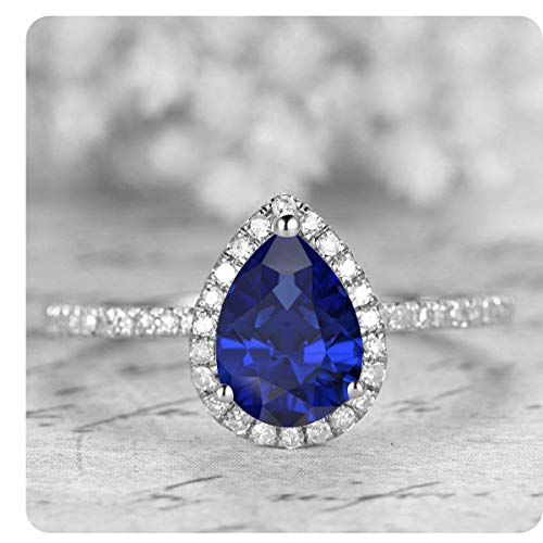(1.50 Ctw Pear Shaped Created Blue Sapphire & White Diamond 14k White Gold Over .925 Sterling Silver Engagement Ring for)