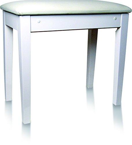 Delson 104-3W - Banqueta para piano, con compartimento, lacado, color blanco