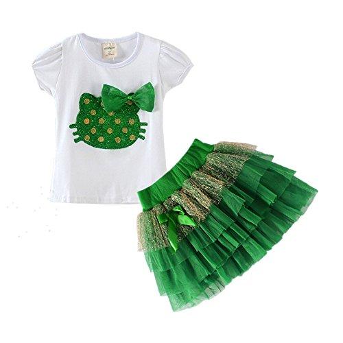 LittleSpring Baby Girls' Clothes Set Cartoon 4T Green