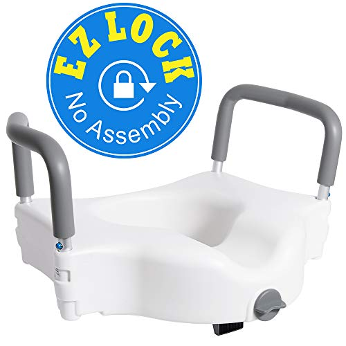Vaunn Medical Elevated Raised Toilet Seat & Commode Booster Seat Riser with Removable Padded Grab bar Handles & Locking -