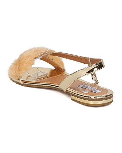 Cape Robbins Kvinnor Furry Flat Sandal - Slingback Sandal - Kedjad Flat Sandal - Gh31 Av Guld
