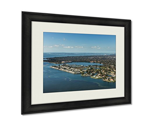 Ashley Framed Prints, Aerial View Of Coquina Key In St Petersburg Florida Landing At The Airport In, Wall Art Decor Giclee Photo Print In Black Wood Frame, Ready to hang, - Florida In Locations Airport