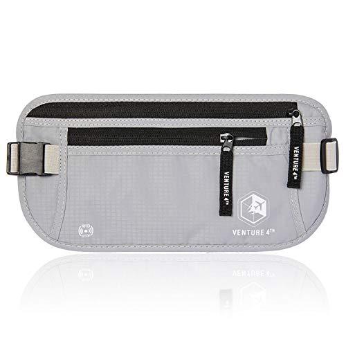 VENTURE 4TH Travel Money Belt RFID Blocking Hidden Waist Stash (Silver)