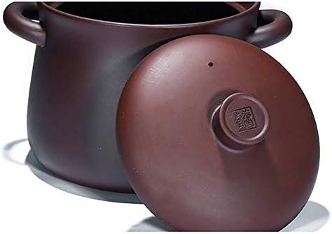 AGGF Casserole Chinoise Faite à la Main de Zisha, marmite en Terre Cuite Violette en céramique Casserole d'argile de Casserole Saine avec Le Couvercle Violet 5.81Quart