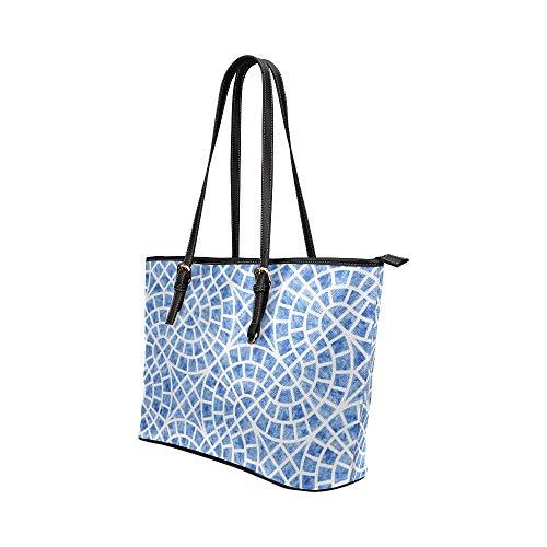 Handväskor damkonst retro färgglad mosaik kakel läder handväskor väska orsaksala handväskor dragkedja axel organiserare för dam flickor damväskor för axlar