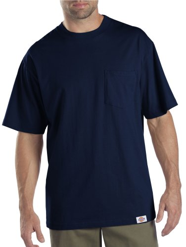 Relaxed Crew T-shirt Love (Dickies Men's Short Sleeve Pocket T-Shirt 2-Pack, Dark Navy, Large)