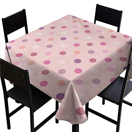 (Square Table Cloth Pink and White,Retro Pattern with Different Colored Polka Dots Country Style for Baby Girls,Multicolor,W54 x L54 Tablecloths)