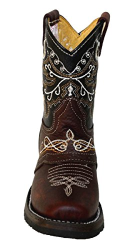 Kid's childrens toddler cowboy boots leather square toe rodeo boys western_8