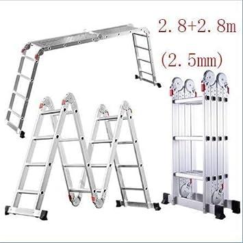 Escalera telescópica, Escalera, multi-función de escalera de aluminio, 150 kg Capacidad de carga (330lb), apto for interiores y exteriores escalera de bricolaje (Color : 2.8+2.8m(2.5mm)): Amazon.es: Bricolaje y herramientas