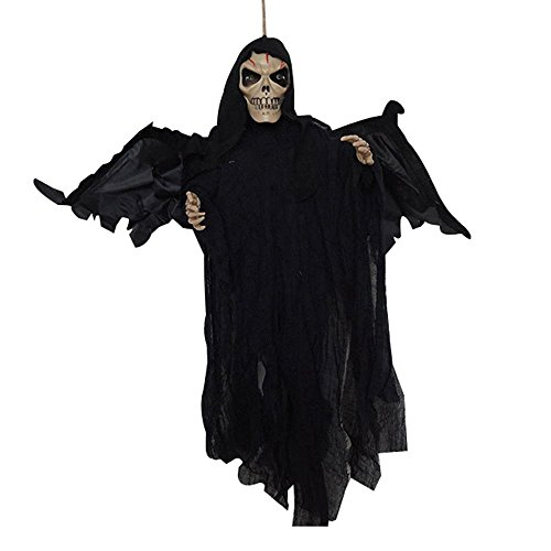 Pawaca Halloween Animated Scary Zombie Skeleton Prop, Party Bar Hanging Ghost Flying Dead Ghoul Horror Decor,Voice Control Crawling Prop,Nimated Realistic Human Zombie with Creepy Skull Torso LED Eye -
