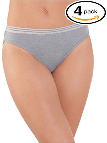 Fruit of the Loom Women's Breathable Bikini Panties (Pack of 4) (X-Large / 8, Heather)