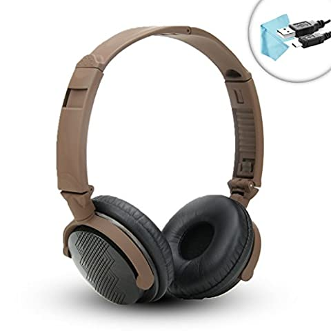 GOgroove AudioLUX WD Headphones with REAL Walnut Wood , In-line Mic , Foldable Design , & Heavy-Duty Braided 3.5mm Cable - Perfect for iPhone , Samsung Galaxy , And - Wd Wood Finishes