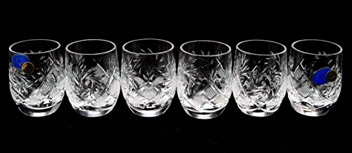 SET of 6 Russian CUT Crystal Shot Glasses