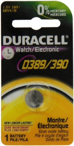Duracell D389/390PK Watch / Electronics Battery, 1.5 Silver Oxide (389 Battery compare prices)