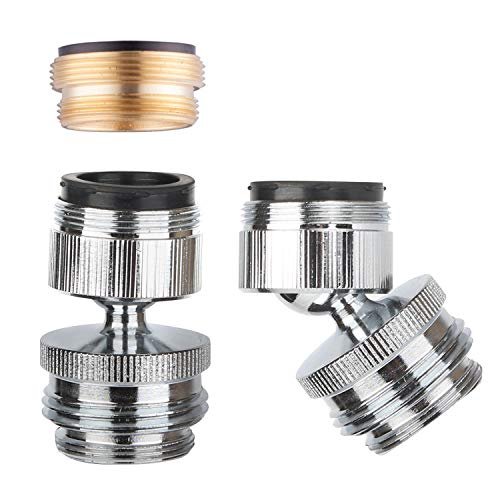 Faucet Adapter Kit Swivel Aerator Adapter to Connect Garden Hose - Multi-Thread Garden Hose Adapter for Male to Male and Female to Male - Chrome (Male Threaded Adapter)