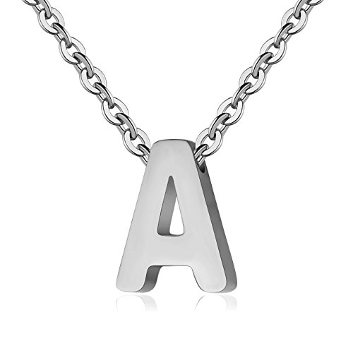 TOUGHARD Polished Tiny Initial Alphabet Letter Pendant Necklace, Delicate Charm Jewelry for Girls Women (A:Silver Tone) ()