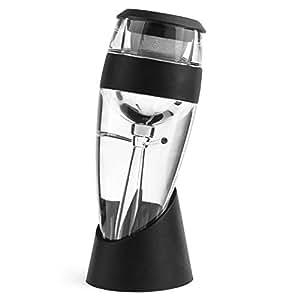 """Vituzzi® Decantador """"Deluxe"""" 2.0 de Vino. Color Negro. Aireador / Vertedor para Vino, para cualquier tipo de Botella o Copa de Vino Tinto, Rosa y Blanco. Accesorio Oxigenador para Vino. Certificado por la FDA. Wine Decanter"""