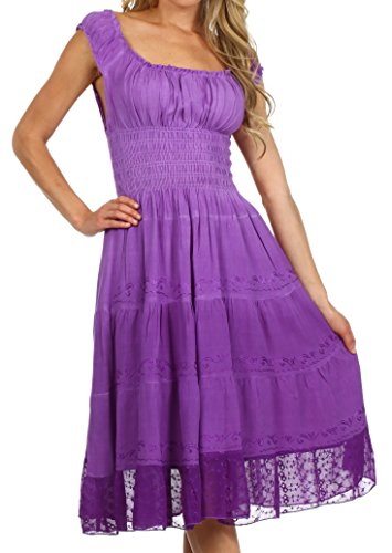 Sakkas 6741 Spring Maiden Ombre Peasant Dress - Lilac Purple - One Size