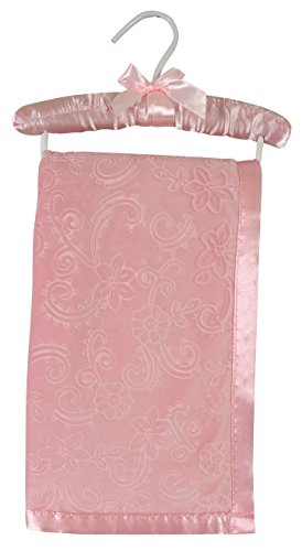 Fleece Satin Baby Blanket (Stephan Baby Satin-Trimmed Embossed Velvet Fleece Crib Blanket, Pink Flowers)