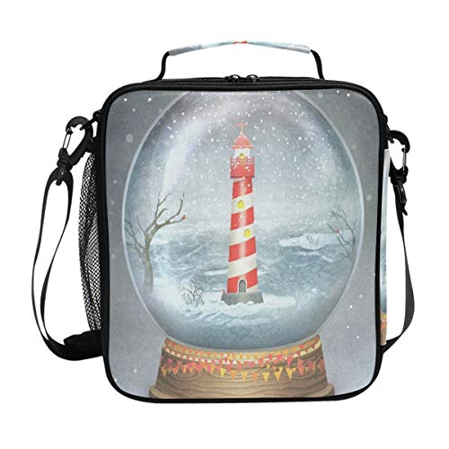 Durable Insulated Lunch Box,Merry Christmas Glass Ball With Lighthouse Tote Reusable Cooler Bag LARGER Greater Storage Waterproof Grocery Bag to School Office ()