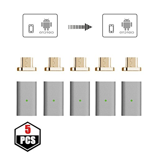 NetDot 5 Pack Gen5 Micro USB to Magnetic Micro USB Adapter Compatible with Android Devie (Micro USB Adapter/5 Pack Gray)