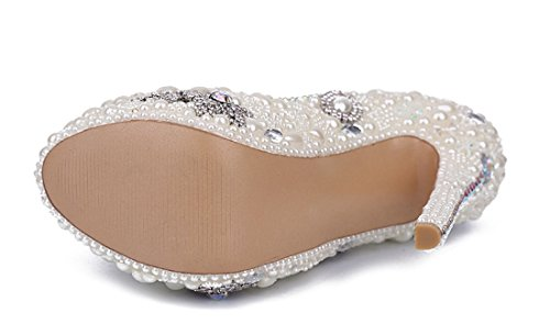 Stiletto Pearl Round Pumps Rhinestones Dress Toe White TDA Women's Party Evening Studded Wedding Platform qPnHxCRtw