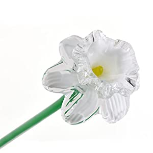 "White Glass Daffodil Flower, One-of-a-kind, Life Size 20"" long. FREE SHIPPING to the lower 48 when you spend over $35.00 38"
