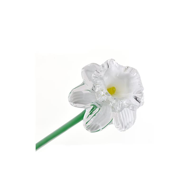 """silk flower arrangements white glass daffodil flower, one-of-a-kind, life size 20"""" long. free shipping to the lower 48 when you spend over $40.00"""