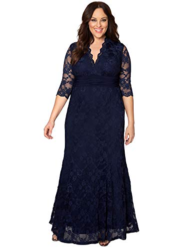 Kiyonna Women's Plus Size Screen Siren Lace Gown 1X Nocturnal Navy