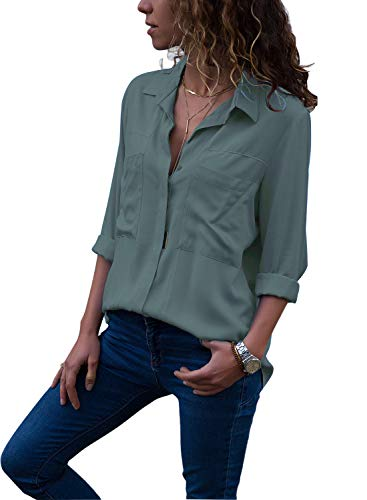 Astylish Womens Tops Summer Button Down Front Pocket Long Sleeve Solid Plain Casual Blouses for Wrok Jeans Henley Shirt Large 12 14 Grey by Astylish