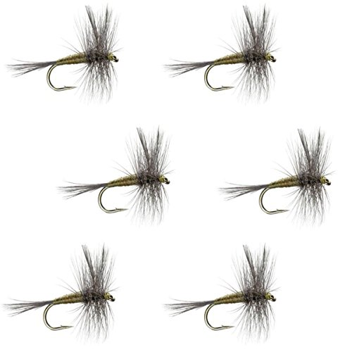 The Fly Fishing Place Blue Winged Olive BWO Classic Trout Dry Fly Fishing Flies - Set of 6 Flies Size 18