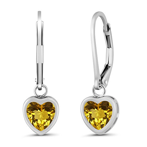 Gem Stone King Sterling Silver Heart Shape Yellow Citrine Women's Earrings (1.44 cttw, 6MM Heart - Mm 6 Bezel Heart
