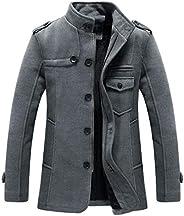 RongYue Men's Winter Pea Coat Wool Blend Single Breasted Military Peacoat Ja