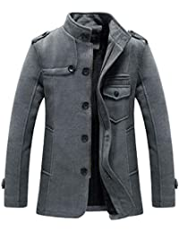 Men's Winter Pea Coat Wool Blend Single Breasted Military Peacoat Jacket
