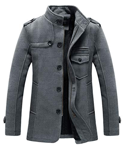 RongYue Men's Winter Pea Coat Wool Blend Single Breasted Military Peacoat Jacke