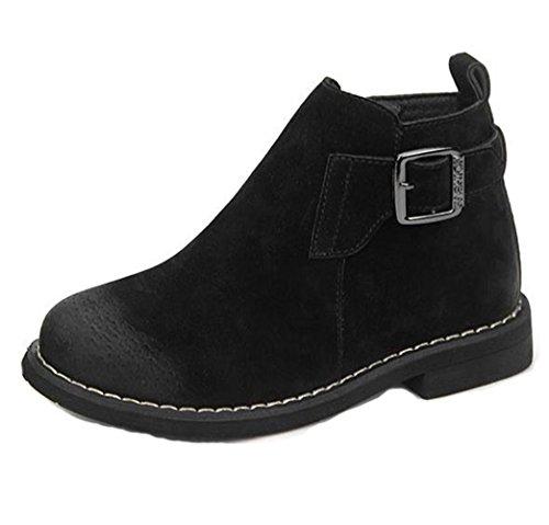 Hoxekle Comfort Boys Girls MID Boots TPR Anti-slip Zipper Kids Fashion Boots Students Walking Shoes Black 3 M US Little (Ugh Boots Kids)