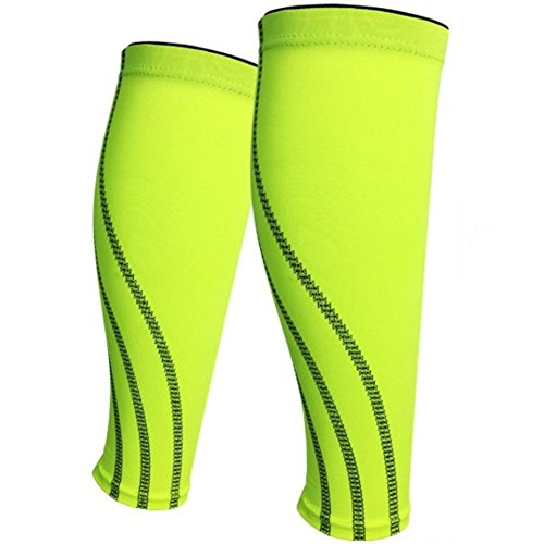 (2PCS) Football Pads Shin Guards Soccer Protective Leg Calf Compression Sleeves Sports Safety Cycling Running Fitness shinguards (X-Large, Fluorescent green)