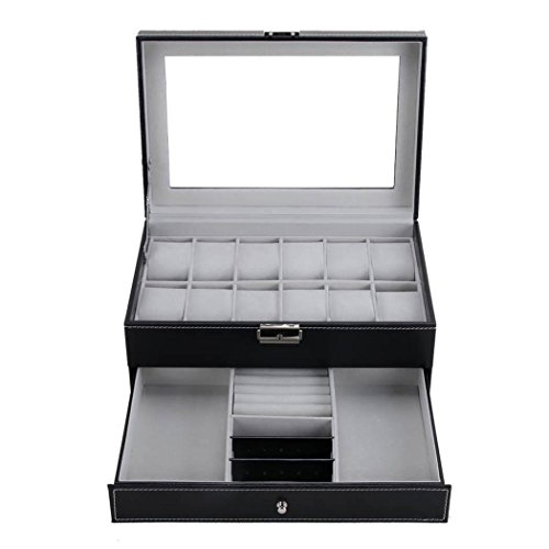 Meharbour Double-Layer 12 Slots Watch Box Organizer Luxury Lockable Jewelry and Sunglasses Tray Drawer Display Case Organizer Women Mens Storage Holder Boxes with Black Faux - Storage Box Sunglasses Luxury