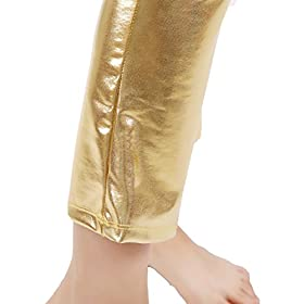 - 419B6BNtmbL - GAIBEST Women Metallic Color Shiny Lycra Stretch Leggings Leotard