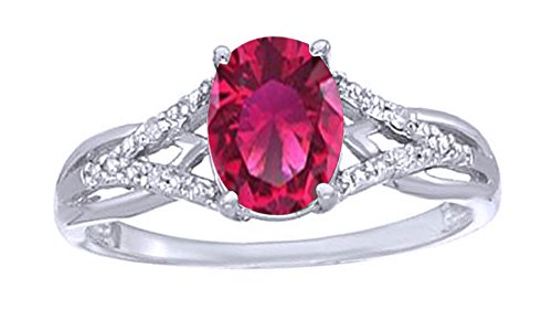 Jewel Zone US Simulated Ruby & White Natural Diamond Solitaire Engagement Ring in 10k Solid Gold (1.07 Cttw) (2 Carrot Diamond Engagement Ring)