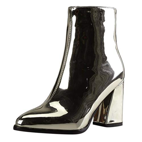 Fshinging Women Boots Pointed Mirror Patent Leather Ankle Party Booties Ladies -