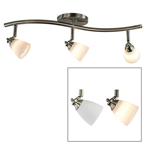 2' Track Lighting Kit - Direct-Lighting 3 Lights Adjustable Track Lighting Kit - Brushed Steel Finish - White Glass Track Heads - GU10 Bulbs Included. D268-23C-BS-WH