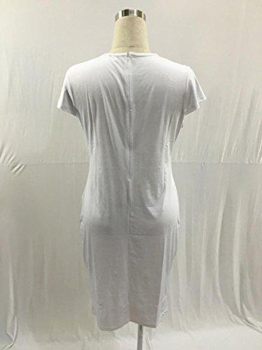 de Blanco Fiesta Plus Vestidos Culater Sin Gasa Mangas Vestido Tallas 0BagqBz